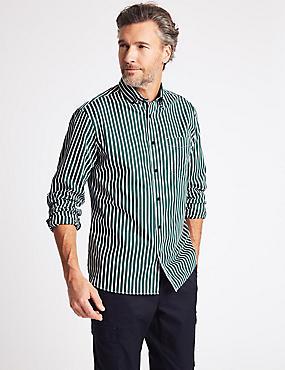 Luxury Pure Cotton Striped Shirt , BOTTLE GREEN, catlanding