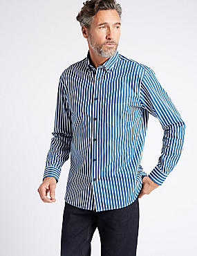 Luxury Pure Cotton Striped Shirt , NAVY MIX, catlanding