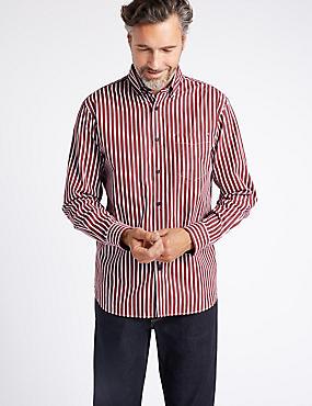 Luxury Pure Cotton Striped Shirt , BURGUNDY MIX, catlanding