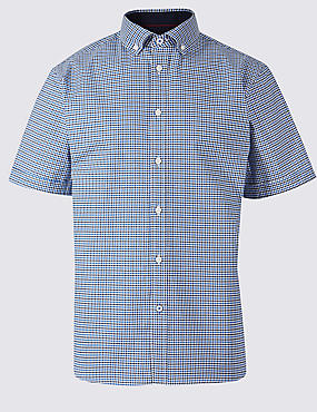 Cotton Rich Checked Shirt with Stretch