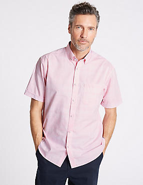 Pure Cotton Checked Shirt with Pocket, LIGHT ROSE, catlanding