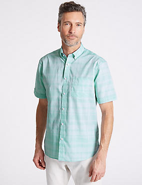 Pure Cotton Checked Shirt with Pocket, SPEARMINT, catlanding