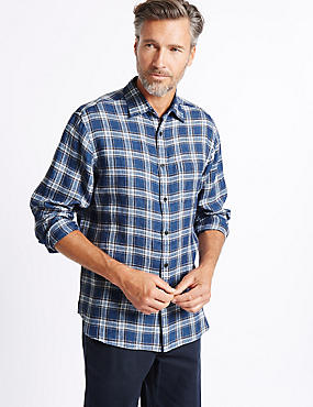 Pure Linen Checked Shirt with Pocket