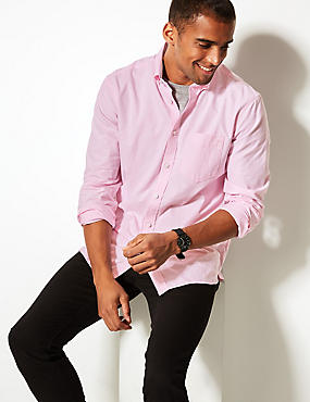 Pure Cotton Shirt with Pocket, PINK, catlanding