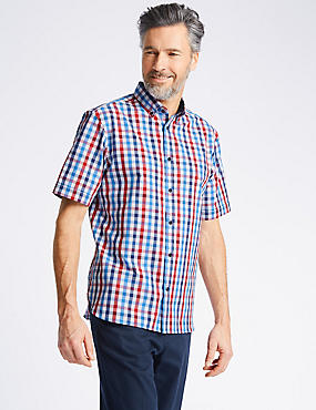 Pure Cotton Checked Shirt, CHERRY RED, catlanding