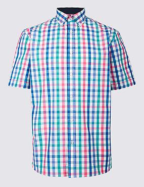 Pure Cotton Checked Shirt, MULTI, catlanding