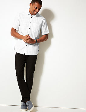 Pure Cotton Textured Shirt with Pocket, WHITE, catlanding