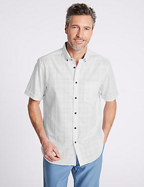 2in Longer Pure Cotton Textured Shirt with Pocket, WHITE, catlanding