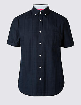 Pure Cotton Slim Fit Shirt with Pocket, NAVY, catlanding