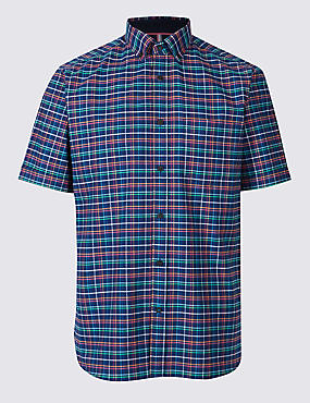 2in Longer Pure Cotton Checked Shirt with Pocket, NAVY MIX, catlanding