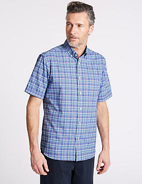 Pure Cotton Checked Shirt with Pocket, PURPLE, catlanding