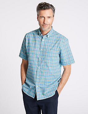 Pure Cotton Checked Shirt with Pocket, AQUA, catlanding