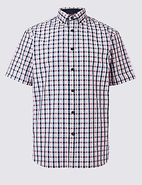Pure Cotton Checked Shirt, RED MIX, catlanding