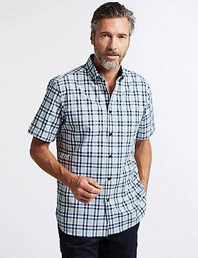 Pure Cotton Checked Shirt with Pocket, TURQUOISE MIX, catlanding