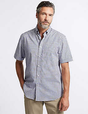 Pure Cotton Checked Shirt with Pocket, NEUTRAL, catlanding