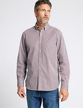 Pure Cotton Striped Shirt with Pocket, RED, catlanding