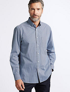 Pure Cotton Striped Shirt with Pocket, BLUE, catlanding