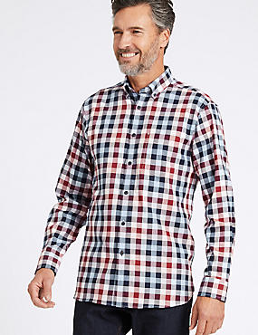 Pure Cotton Checked Shirt with Pocket, PINK MIX, catlanding