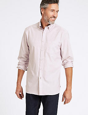 Cotton Rich Checked Shirt with Pocket, PINK MIX, catlanding