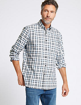 Pure Cotton Checked Shirt with Pocket, LIGHT BLUE, catlanding