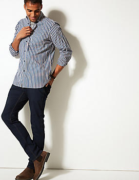 Pure Cotton Striped Shirt with Pocket, NAVY MIX, catlanding