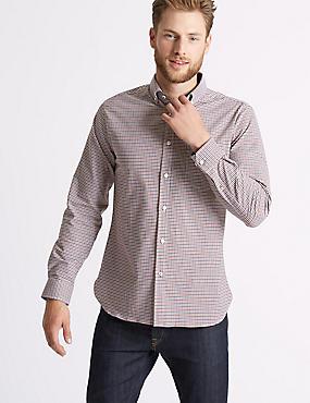 Cotton Rich Slim Fit Checked Oxford Shirt, ORANGE MIX, catlanding