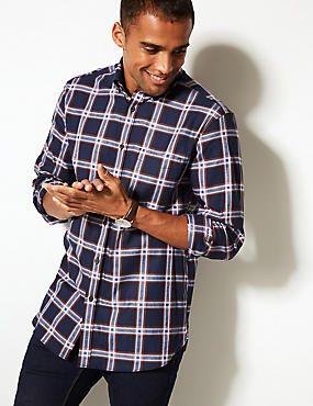 Pure Cotton Checked Shirt with Pocket, NAVY MIX, catlanding