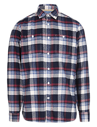 Washed Pure Cotton Checked Shirt Clothing
