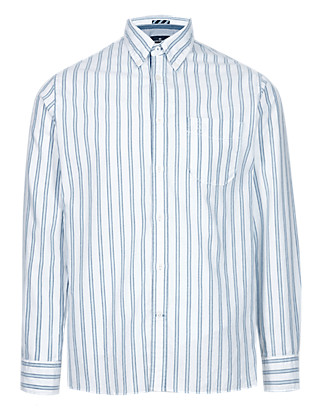 Pure Cotton Striped Oxford Shirt Clothing