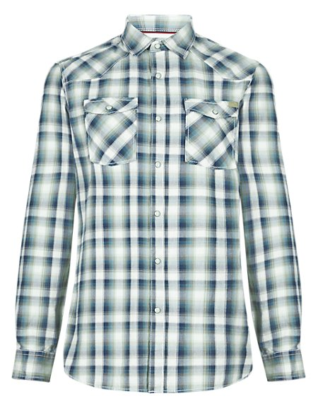 Pure Cotton Graded Checked Tailored Fit Shirt