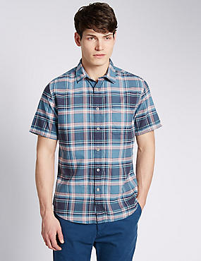 Pure Cotton Short Sleeve Large Checked Oxford Shirt