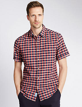 Pure Cotton Large Block Checked Shirt