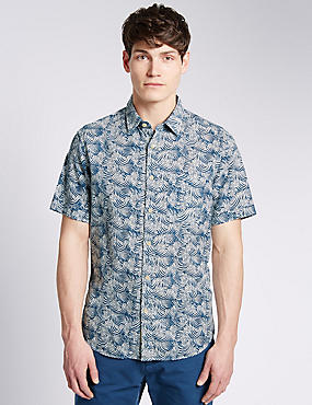 Pure Cotton Tailored Fit Wave Print Shirt
