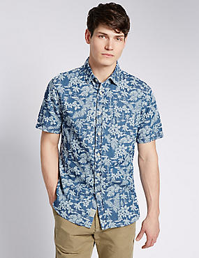 Pure Cotton Short Sleeve Floral Shirt