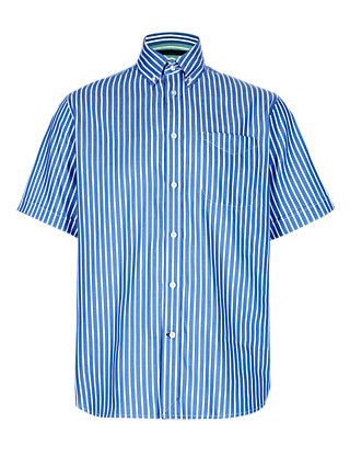 2in Longer Pure Cotton Double Face Striped Shirt Clothing