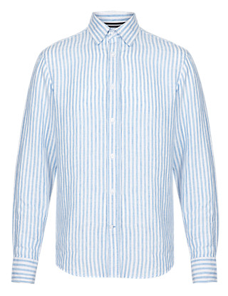 Pure Linen Easy to Iron Striped Shirt Clothing