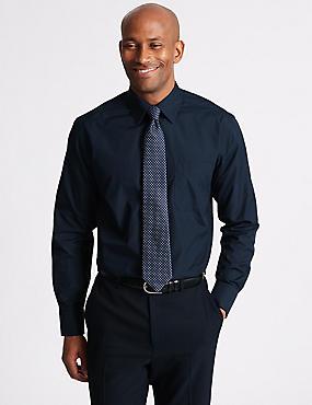 Pure Cotton Regular Fit Luxury Shirt, NAVY, catlanding