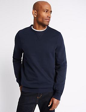 Big & Tall Pure Cotton Crew Neck Sweatshirt, NAVY, catlanding