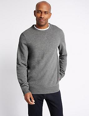 Big & Tall Pure Cotton Crew Neck Sweatshirt, GREY MIX, catlanding