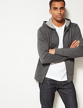 Cotton Rich Regular Fit Zip Through Hoody, CHARCOAL MIX, catlanding