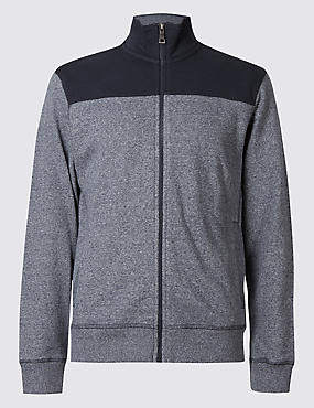 Pure Cotton Zipped Through Sweatshirt