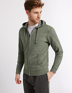 Cotton Rich Textured Hooded Top