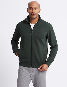 Cotton Funnel Neck Regular Fit Jacket, KHAKI, catlanding