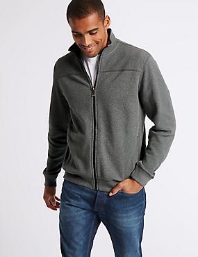 Cotton Funnel Neck Regular Fit Jacket, GREY MIX, catlanding