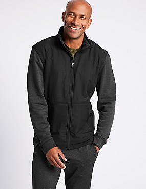 Textured Funnel Neck Regular Fit Jacket