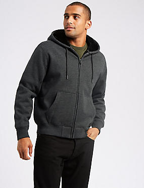 Regular Fit Pure Cotton Fleece Lined Hoody