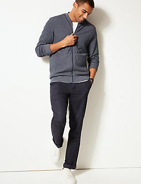 Cotton Blend Textured Baseball Zip Through, NAVY, catlanding