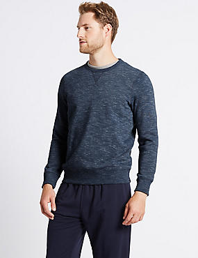 Cotton Rich Textured Sweatshirt