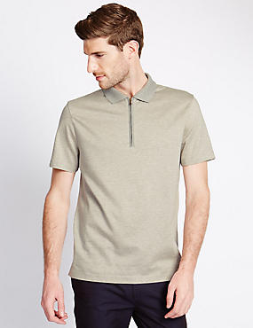 Pure Cotton Mercerised Striped Polo Shirt