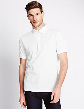 Cotton Rich Tailored Fit Polo Shirt with Linen
